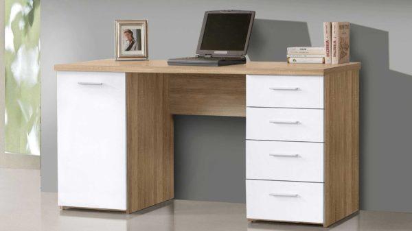 Schreibtisch mit 1 Tür und 4 Schubkästen