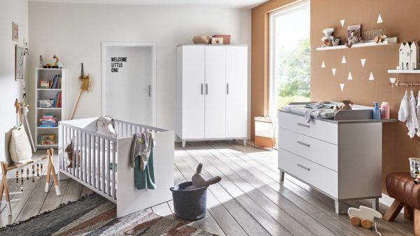 PAIDI Babyzimmer Nils mit Bett, Wickelkommode und Kleiderschrank