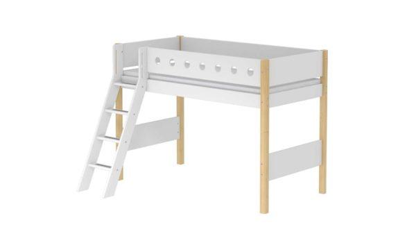 FLEXA White Mittelhohes Bett mit Schrägleiter 90×200 cm